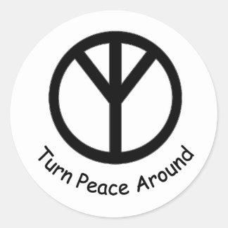 Drehen Sie Frieden um kleinen Aufkleber