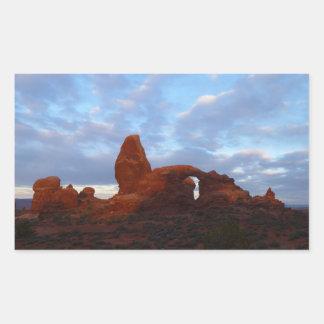 Drehkopf-Bogen am Sonnenaufgang im Rechteckiger Aufkleber
