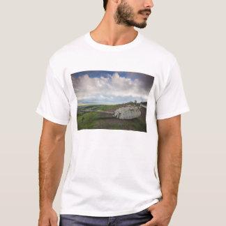 Drehkopf des israelischen Behälters zeigt auf T-Shirt