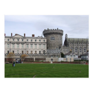 Drehkopf Dublinschlosses Irland, -rasens u. Postkarte