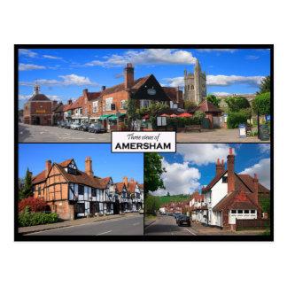 Drei Ansichten Amersham der alten Stadtpostkarte Postkarte