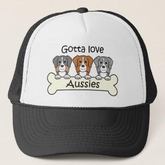 Drei australische Schäfer Truckerkappe