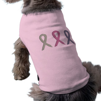 Drei Band-Brustkrebs-Bewusstseins-Hundeshirt T-Shirt
