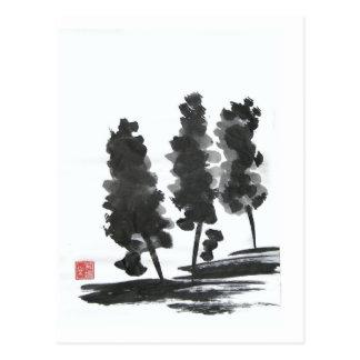 Drei Baum-Postkarte Postkarten