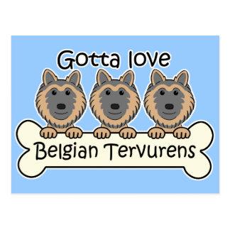 Drei Belgier Tervurens Postkarte