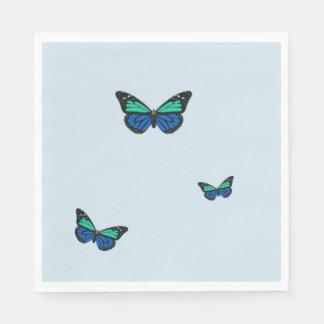 Drei blaue Schmetterlinge Servietten