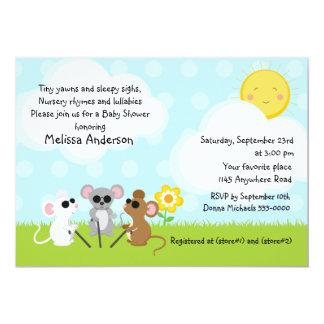 Drei blinde MäuseKinderzimmer-Reim-Baby-Dusche 12,7 X 17,8 Cm Einladungskarte