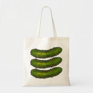 Drei Crunchy grüne Dillgurke-reine Essiggurke Tragetasche