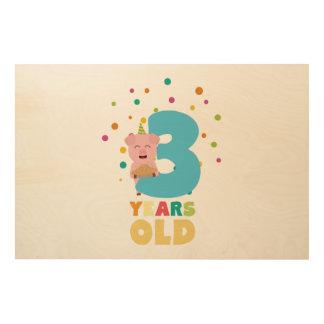 Drei des dritten Geburtstags-Jahre Party-Z9hyc Holzdruck