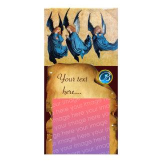 DREI ENGEL im BLAUEN PERGAMENT Saphir-Monogramm Bildkarten