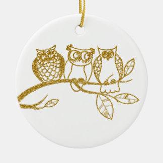 Drei Eulen-Babys in der GoldGlitter-Verzierung Rundes Keramik Ornament