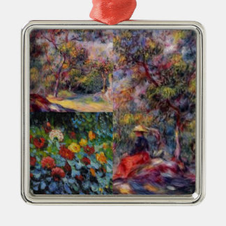 Drei fantastische Meisterwerke von Renoirs Kunst Quadratisches Silberfarbenes Ornament