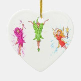 Drei Feen Keramik Herz-Ornament