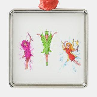 Drei Feen Quadratisches Silberfarbenes Ornament