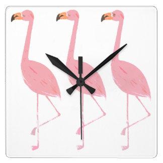 Drei Flamingo-Uhr Quadratische Wanduhr