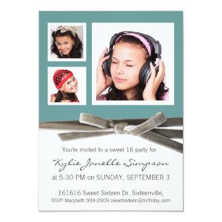 Drei Foto-Bonbon-16. Geburtstags-Party Einladungskarten