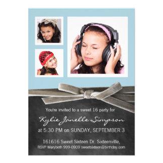 Drei Foto-Bonbon-16. Geburtstags-Party Personalisierte Ankündigungskarte