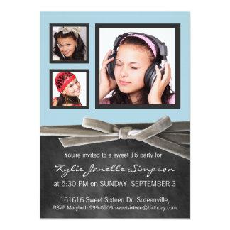 Drei Foto-Bonbon-16. Geburtstags-Party Individuelle Einladungskarte
