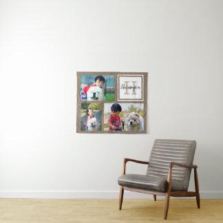 Drei Foto-Monogramm-letzter Namen-Land-Wand Wandteppich