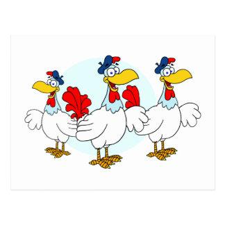 Drei französische Hennen Postkarte