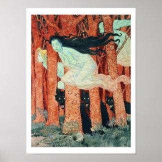 Drei Frauen und drei Wölfe (w/c) Poster
