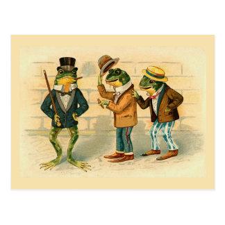 """Drei gesellige Frosch-"" Vintage Postkarte"
