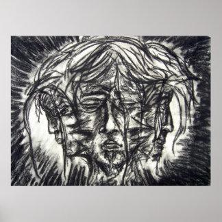 Drei Gesichter Goth Schwarzweiss-Holzkohle Poster