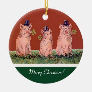 Drei glückliche Schweine - lustige Keramik Ornament