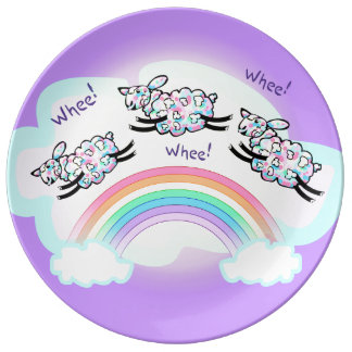 Three Happy Whee Sheep Leaping Over a Rainbow