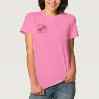 Drei Herzen stickten Shirt Besticktes Damen Polo Shirt