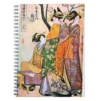 Drei japanische Frauen-Vintage Malerei Spiral Notizbücher