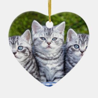 Drei junge silberne Tabbykatzen im karierten Korb Keramik Herz-Ornament