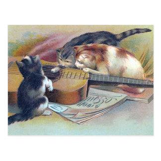 Drei Kätzchen und eine Gitarren-Vintage Postkarte
