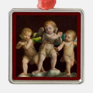 Drei kleine Engel oder Engel Quadratisches Silberfarbenes Ornament