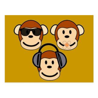 Drei klug und flippige Affen Postkarte