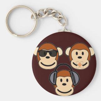 Drei klug und flippige Affen Standard Runder Schlüsselanhänger
