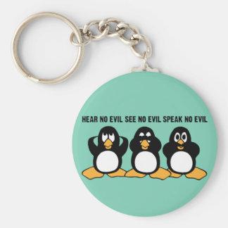 Drei kluge Pinguin-Entwurfs-Grafik Schlüsselanhänger