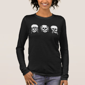 Drei kluge Schädel, sehen, hören, sprechen kein Langarm T-Shirt
