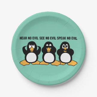 Drei kluger Penguins-Spaß Pappteller