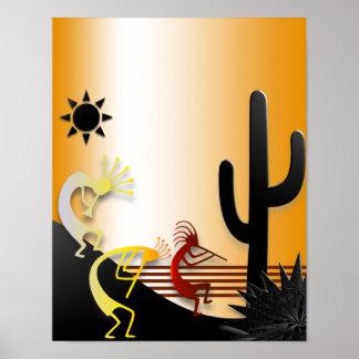 Drei Kokopellis und ein Kaktus Poster