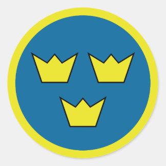 Drei Kronen-Schwede-Symbol Runder Aufkleber
