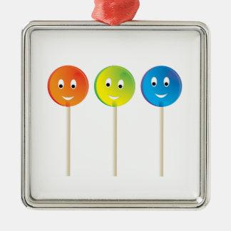 Drei lächelnde Lutscher Quadratisches Silberfarbenes Ornament