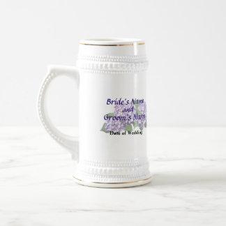 Drei lila Hydrangea-Gruppen, die Produkte Wedding Bierglas