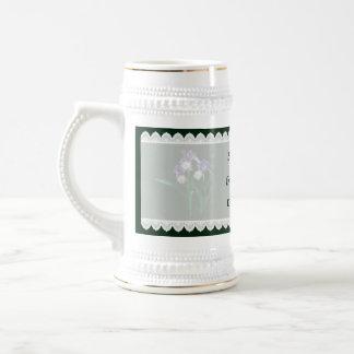 Drei lila und Weiß Irises Gastgeschenke Hochzeit Bierglas