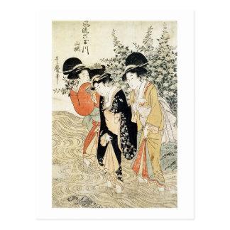 Drei Mädchen, die in einem Fluss, von der 'Mode Postkarte