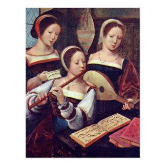 Drei Mädchen, die Musik-Postkarte spielen Postkarte