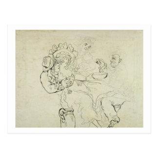 Drei Männer und ein Frauentrinken (Stift u. Tinte Postkarte