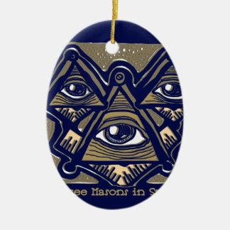 Drei Maurer im Raum durch ParanormalPrints Ovales Keramik Ornament