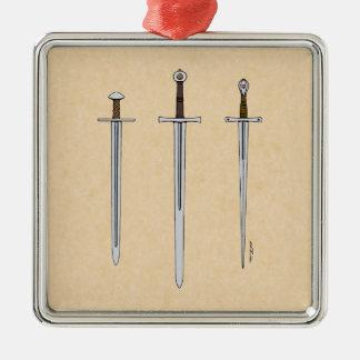 Drei mittelalterliche Schwerter 2016 Silbernes Ornament