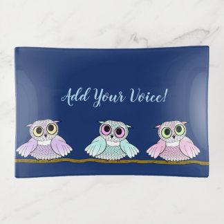 Drei niedliche Eulen, addieren Ihre Stimme Dekoschale